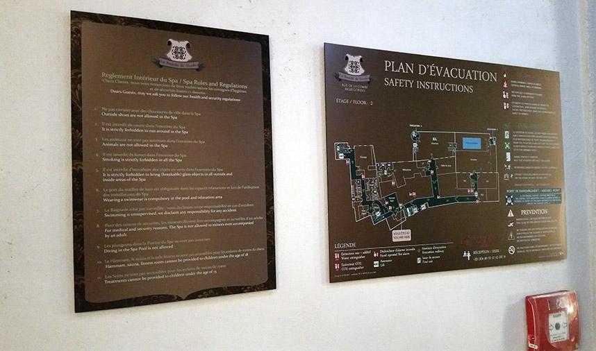 plan évacuation réglementation laiton hotel palace