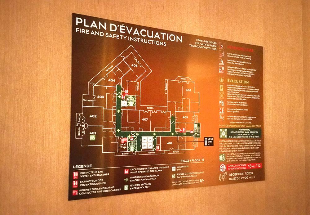 plan évacuation hotel luxe courchevel